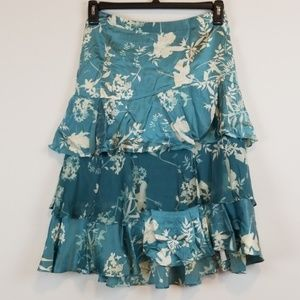 Banana Republic floral ruffled silk skirt size 0